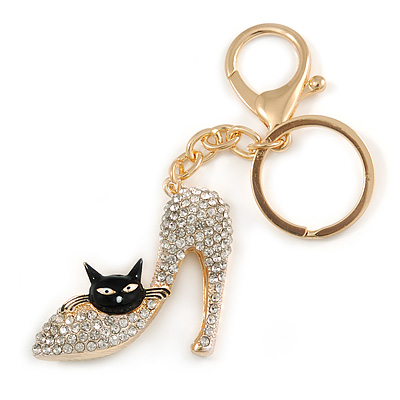 Clear Crystal High Heel Shoe With Black Enamel Cat Motif Keyring/ Bag Charm In Gold Tone Metal - 10cm L