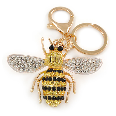 Yellow/ Black/ Clear Crystal Bee Keyring/ Bag Charm In Gold Tone Metal - 9cm L - main view