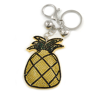 Yellow/ Green Crystal Pineapple Keyring/ Bag Charm In Silver Tone Metal - 11cm L - main view