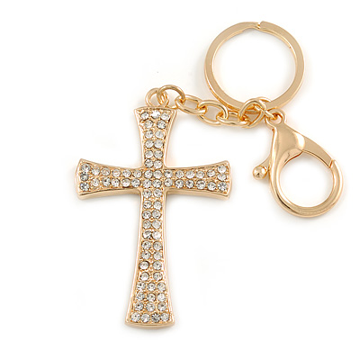 Clear Crystal Cross Keyring/ Bag Charm In Gold Tone - 11cm L