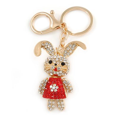 Clear/ Red Crystal Happy Easter Bunny Keyring/ Bag Charm In Gold Tone Metal - 9cm L