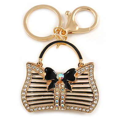 Clear/ AB Crystal, Black Enamel Puffed Bag Keyring/ Bag Charm In Gold Tone - 9cm L