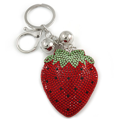 Red/ Green/ Black Crystal Strawberry Keyring/ Bag Charm In Silver Tone Metal - 11cm L - main view