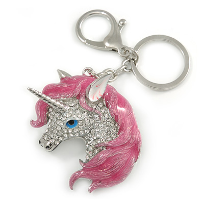 Clear Crystal, Pink Enamel Unicorn Keyring/ Bag Charm In Silver Tone Metal - 10cm L - main view