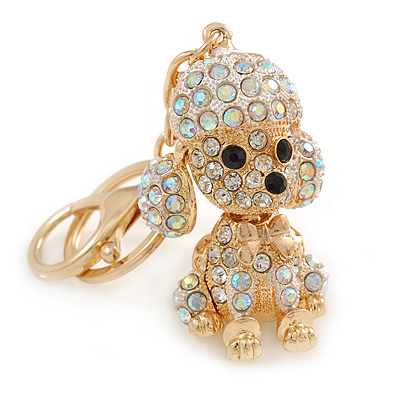 AB Crystal Puppy Poodle Dog Keyring/ Bag Charm In Gold Tone Metal - 10cm L