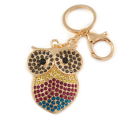 Multicoloured Crystal Owl Keyring/ Bag Charm In Gold Tone - 10cm L