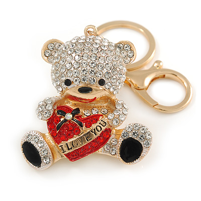 Clear/ Black Crystal Teddy Bear with Red Heart Keyring/ Bag Charm In Gold Tone Metal - 10cm L - main view
