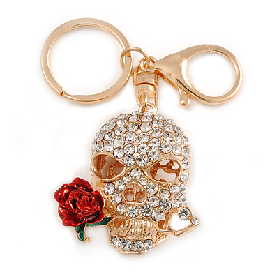 Clear Crystal Skull with Red Rose Keyring/ Bag Charm In Gold Tone - 11cm L