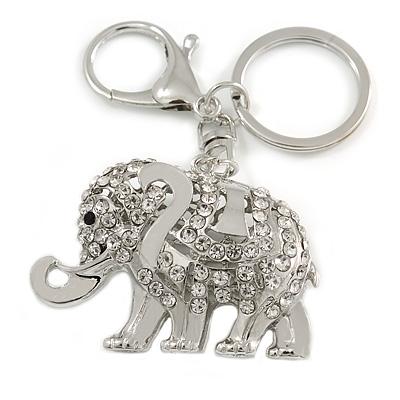 Clear Crystal Elephant Keyring/ Bag Charm In Silver Tone - 10cm L