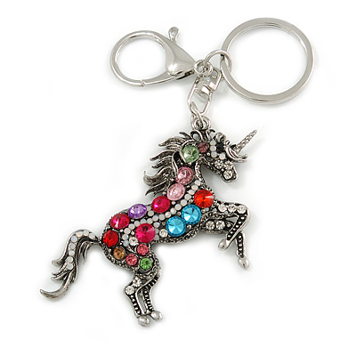 Multicoloured Crystal Unicorn Keyring/ Bag Charm In Aged Silver Tone Metal - 13cm L