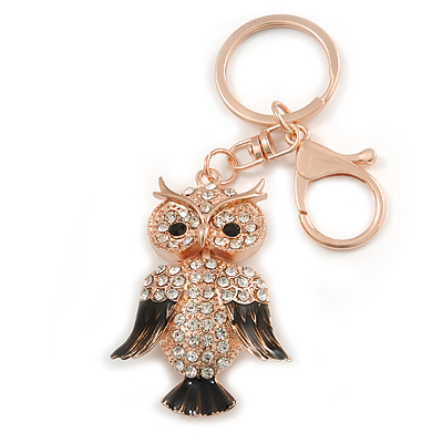 Gold Tone Clear Crystal, Brown Enamel Owl Keyring/ Bag Charm - 11cm Long - main view