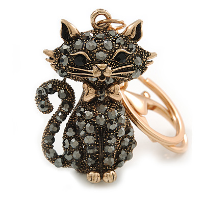 Hematite Crystal Kitty Keyring/ Bag Charm In Gold Tone - 11cm L