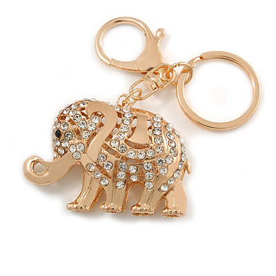 Clear Crystal Elephant Keyring/ Bag Charm In Gold Tone - 10cm L