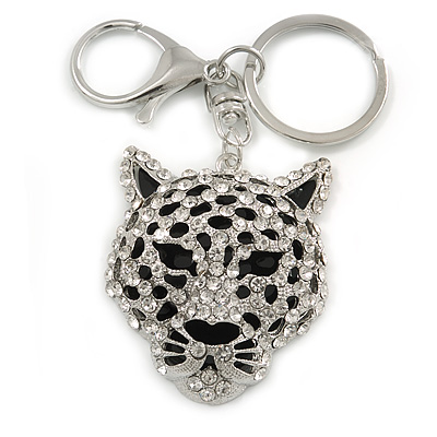 Statement Crystal Tiger Keyring/ Bag Charm In Silver Tone - 11cm L