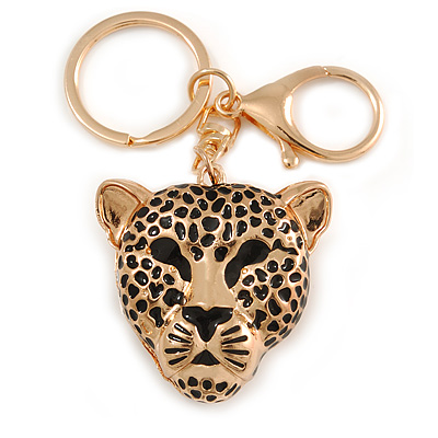 Statement Leopard Keyring/ Bag Charm In Gold Tone - 11cm L
