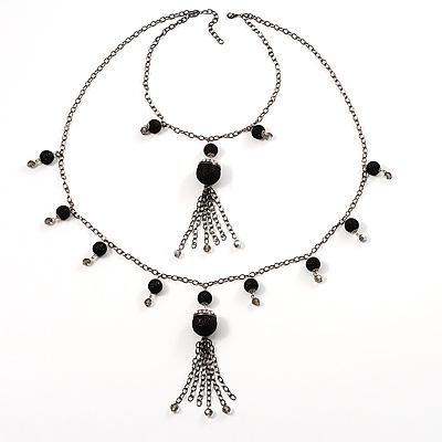 Black Long Double Tassel Fashion Necklace