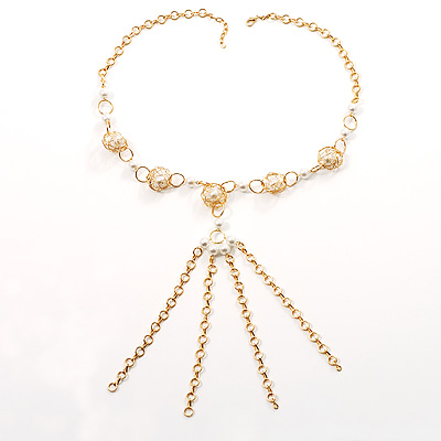 Gold Long Tassel Imitation Pearl Costume Necklace - main view