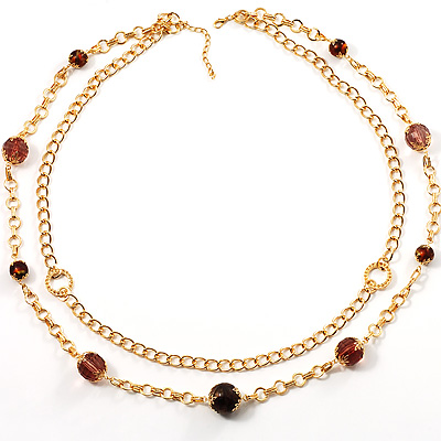 Long Statement Double Strand Necklace In Gold Plated Metal - 100cm L