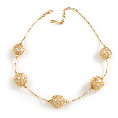 Gold Mesh Imitation Pearl Fashion Necklace