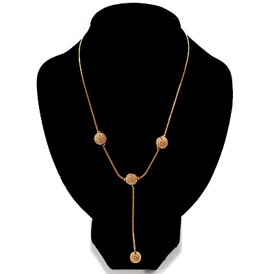 Gold Tone Textured Fashion Drop Necklace
