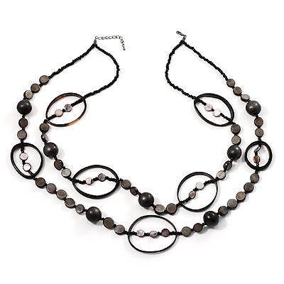 Boho Two Strand Bead Black Fashion Necklace