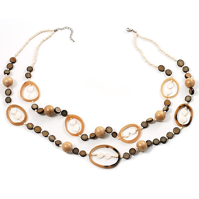 Boho Two Strand Bead Light Cream Fashion Necklace