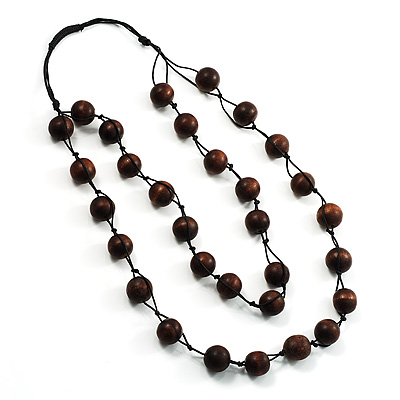 Wood Bead Double Strand Cord Necklace