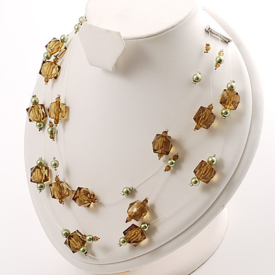 Olive Plastic And Simulated Pearl Illusion Necklace - main view