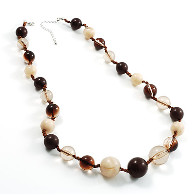 Long Resin Bead Necklace - 60cm L