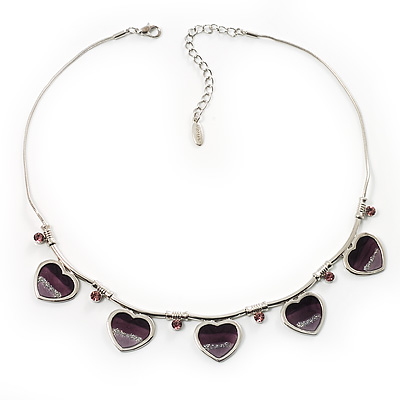 5 Purple Glittering Heart Necklace - main view