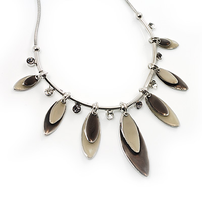 Charming Enamel Crystal Leaf Necklace (Beige&Grey)
