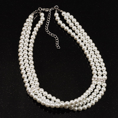8mm Bridal/ Prom/ Wedding 3 Strand White Simulated Glass Pearl Fashion Choker - 32cm Long/ 6cm Ext