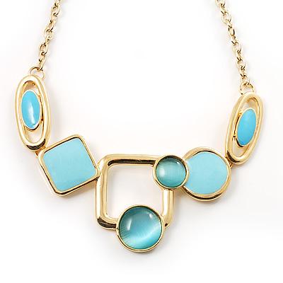 Gold Tone Geometrical Enamel Choker Necklace (Aqua Blue) - main view