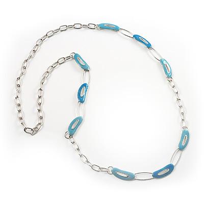 Long Oval Link Enamel Fashion Necklace (Glittering Blue)