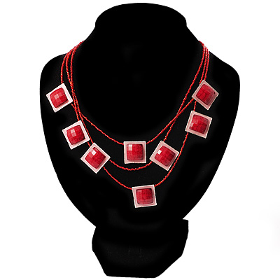 3 Strand Red Beaded Square Neckace - main view