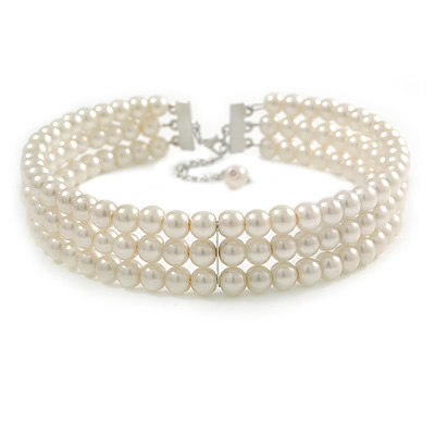 3 Tier Simulated Glass Pearl Collar Necklace In Silver Plating (Light Cream) - 37cm Long/ 6cm Ext