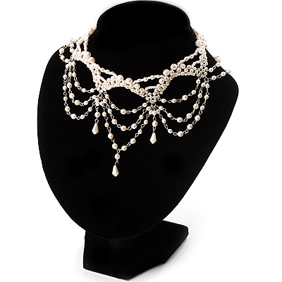 White Bridal Beaded Choker
