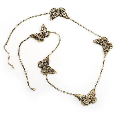 Long Antique Bronze Butterfly Necklace - main view