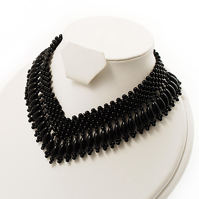 V-Shape Black Bead Choker Necklace