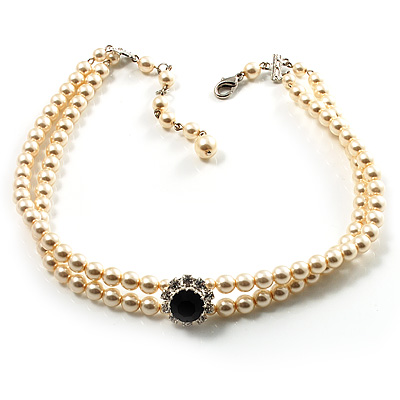 2 Strand Light Cream Imitation Pearl CZ Wedding Choker Necklace (With Jet-Black Central Stone) - main view
