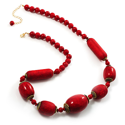 Glamorous Red Nugget Ceramic Necklace - main view