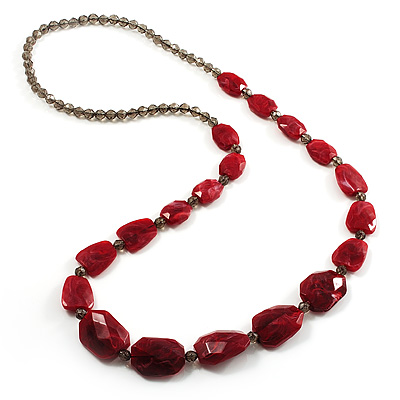 Long Plastic Faceted Nugget Necklace (Cranberry&Grey) - main view