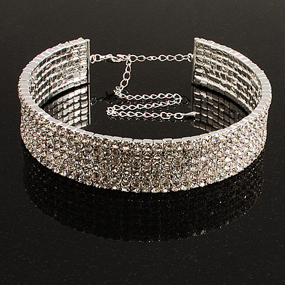 5-Row Austrian Crystal Choker Necklace (Silver&Clear) - main view