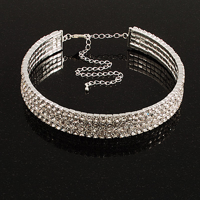 4-Row Austrian Crystal Choker Necklace (Silver&Clear)