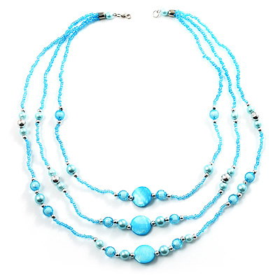 3-Strand Long Shell And Glass Bead Necklace (Aqua)