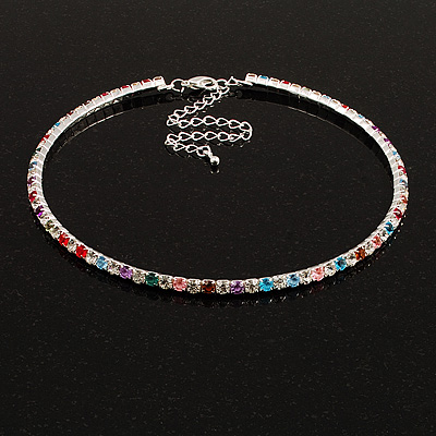 Thin Austrian Crystal Choker Necklace (Multicoloured) - main view