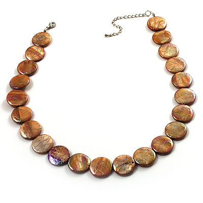 Lustrous Honey-Yellow Colourful Shell Disk Necklace On Cotton Tread - main view