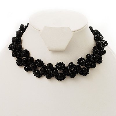 Black Acrylic Beaded Flex Choker Adult
