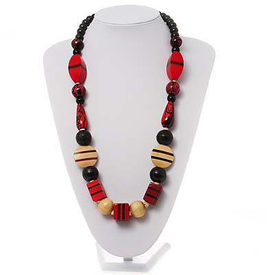 Chunky Geometric Wooden Bead Necklace (Black, Cream And Red) - 74cm L - main view
