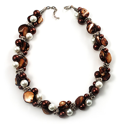 Exquisite Faux Pearl & Shell Composite Silver Tone Link Necklace (Chocolate & White) - main view